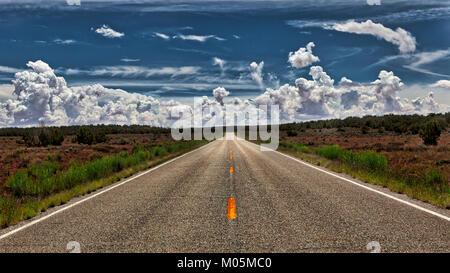 Eine leere, einsame Straße, die zu den Horizont mit Sträuchern und Büschen auf beiden Seiten und einem wolkenbildung - Stockfoto