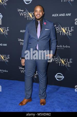 "Hollywood, CA, USA. 26 Feb, 2018. 26. Februar 2018 - Hollywood, Kalifornien - Justin Simien. Disney's ""A Wrinkle - Stockfoto"