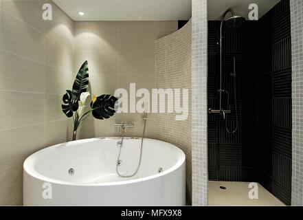 Runde Badewanne Im Separaten Bereich Folgenden Zelle Im Modernen Badezimmer  Mit Dusche   Stockfoto