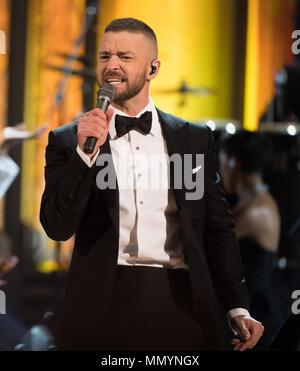 HOLLYWOOD, CA - 26. Februar: Justin Timberlake auf der Bühne führt während der 89. jährlichen Academy Awards in Hollywood & Highland Center am 26. Februar 2017 in Hollywood, California People: Justin Timberlake - Stockfoto