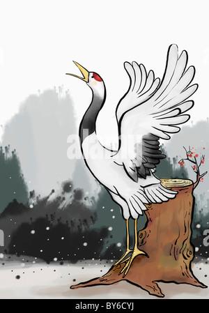 Saludo de Año Nuevo la ilustración en ambiente oriental Foto de stock