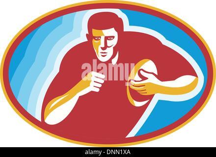 Ilustración de un jugador de rugby girando con la bola dentro de la elipse hecho en estilo retro. Foto de stock