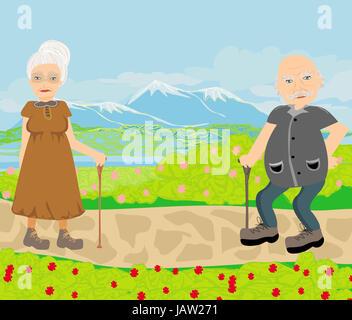 Las parejas ancianas caminar en día soleado Foto de stock