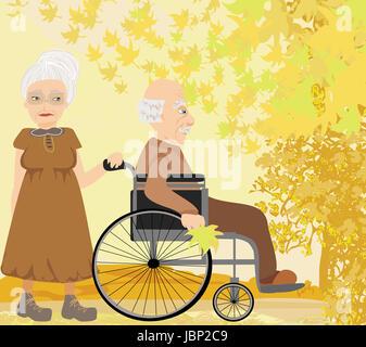 Las parejas ancianas en día de otoño Foto de stock