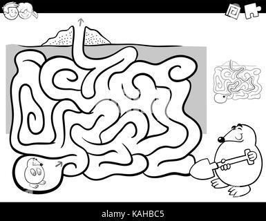 Laberinto actividad página para colorear Ilustración del Vector ...