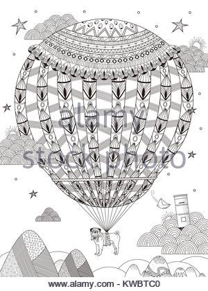 En globo de aire caliente adulto página para colorear, encantadora ...