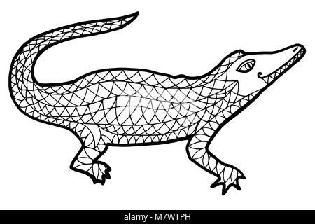 Alligator sketch. Ilustración en blanco y negro de tinta Foto ...