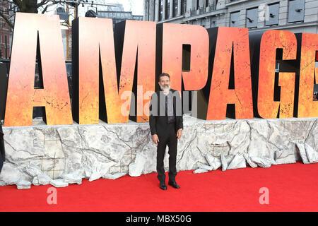 Londres, Reino Unido. 11 de abril de 2018. Jeffrey Dean Morgan, Rampage - estreno europeo, Leicester Square, Londres, Reino Unido, 11 de abril de 2018, Foto de Richard Goldschmidt Crédito: Oro ricos/Alamy Live News Foto de stock