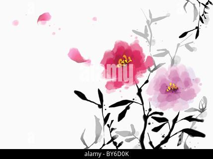 Salutation du nouvel an illustration dans l'humeur d'Orient Banque D'Images