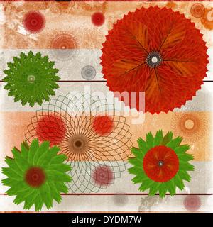 Carte décorative ou résumé fond avec motif en feuille floral Banque D'Images