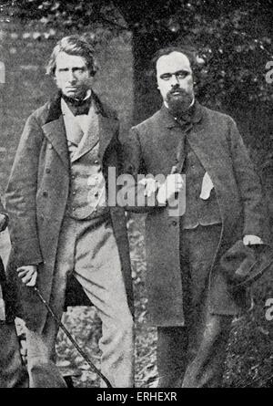 Gabriel Charles Dante Rossetti - poète anglais, peintre et traducteur avec John Ruskin - auteur et critique d'art Banque D'Images