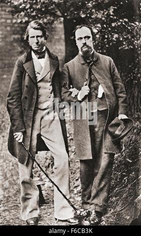 John Ruskin, gauche, 1819 - 1900. Critique d'art anglais de l'ère victorienne, mécène, dessinateur, aquarelliste, Banque D'Images