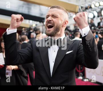 Hollywood, CA - 26 février: justin timberlake assiste à la 89e annuelle des Academy Awards à Hollywood & Highland Banque D'Images