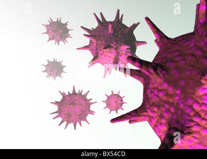 Particelle di virus, opere d'arte concettuale Foto Stock