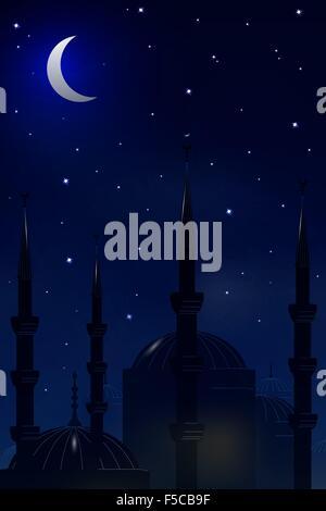 La moschea sullo sfondo del cielo notturno.vettore Foto Stock