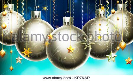 Natale astratto sfondo blu con grande argento sfere decorate in primo piano. Foto Stock