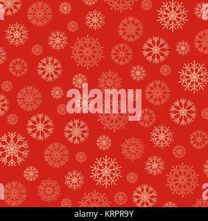 Meraviglioso sfondo di fiocchi di neve in oro e rosso Foto Stock