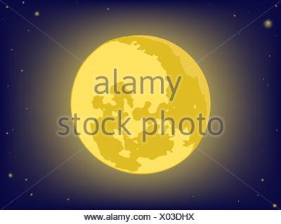 Luna sul cielo di notte. gli sfondi del vettore Foto Stock