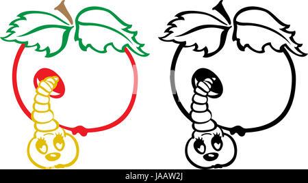 Preto e branco cartoon ilustrao da apple tree com mas para livro worm e apple preto e branco cartoon ilustrao foto de stock thecheapjerseys Images
